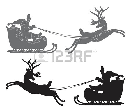 Santa And Reindeer Drawing