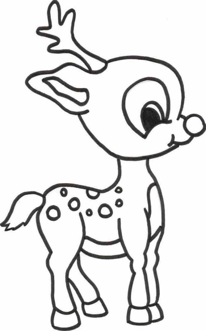 687x1102 Coloring Pages Reindeer Drawings Red Nose Santa Claus Hat