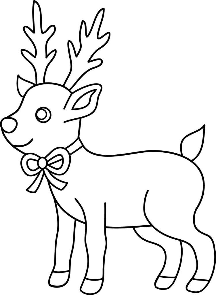 751x1024 Easy Christmas Drawing Santa S Reindeer Coloring Reindeer
