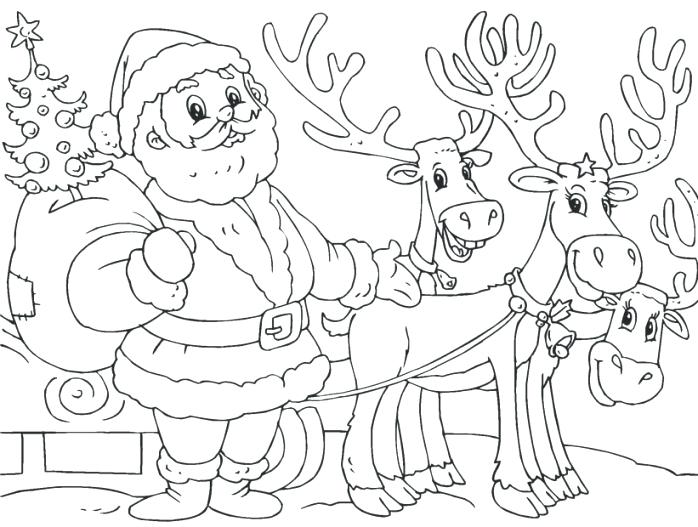 698x527 Santa And Reindeer Coloring Page Printable And Reindeer Coloring