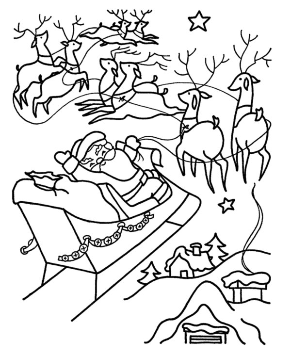 600x734 Santa And Reindeer Coloring Pages