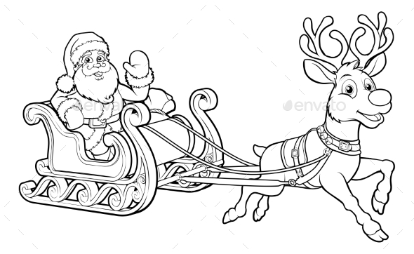590x362 Santa Claus Christmas Sleigh And Reindeer By Krisdog Graphicriver