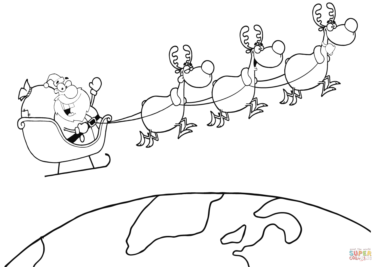 1300x919 Team Of Reindeer And Santa In His Sleigh Flying Above The Earth