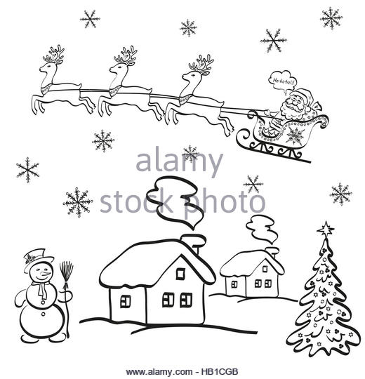 520x540 Cartoon Santa Reindeer Christmas Sled Stock Photos Amp Cartoon Santa