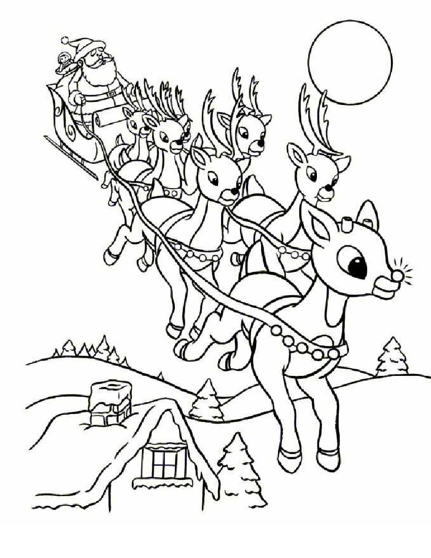 850x1100 Christmas Reindeer Coloring Pages