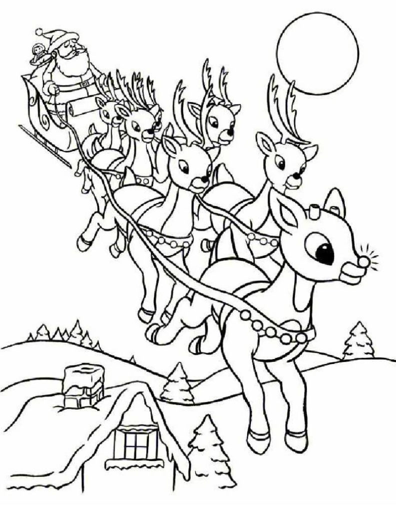 792x1024 Santa's Reindeer Coloring Pages Rudolph And Santa Sleigh Santa