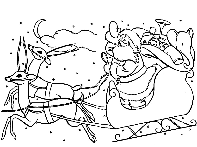 820x610 santa in a sleigh coloring pages