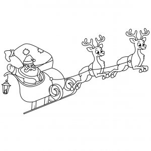 Santa And Sleigh Drawing At Getdrawingscom Free For Personal Use - Sleigh-coloring-pages-printable