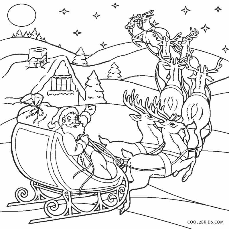 santa and sleigh drawing at getdrawingscom free for