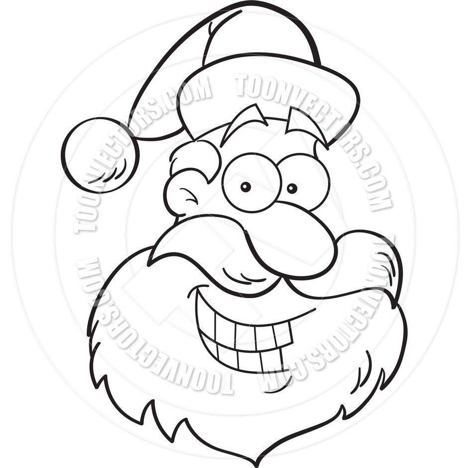 940x940 Cartoon Santa Claus Head (Black And White Line Art) By Kenbenner
