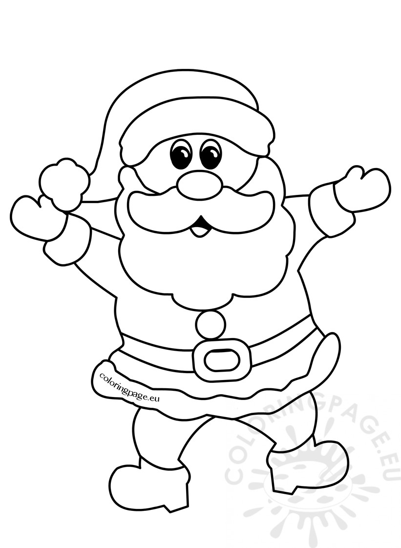 821x1122 cheerful santa claus christmas cartoon outline coloring page