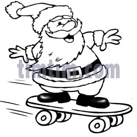 481x480 Free Drawing Of A Skateboarding Santa Claus Bw From The Category