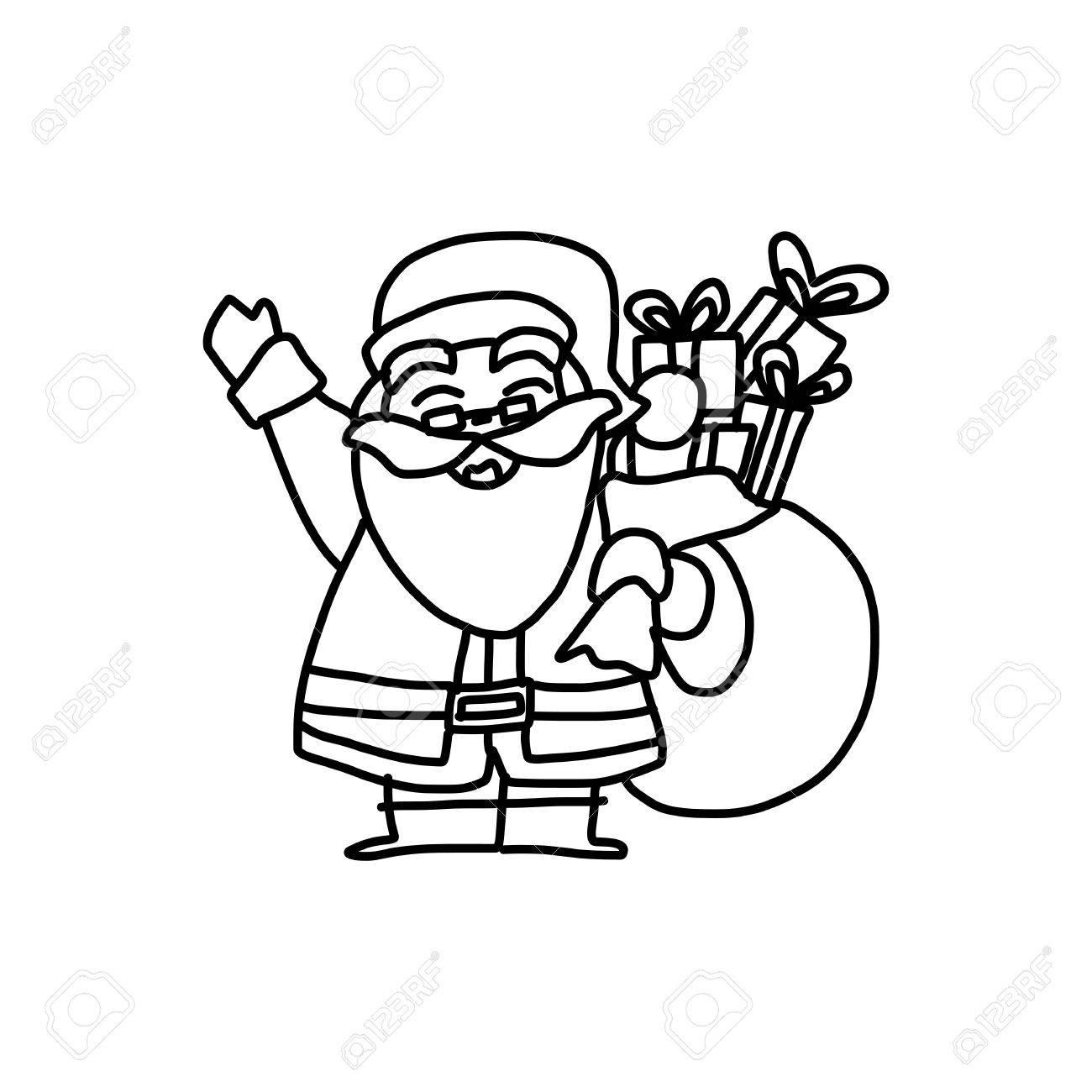 1300x1300 Hand Drawing Cartoon Character Christmas Santa Claus Royalty Free