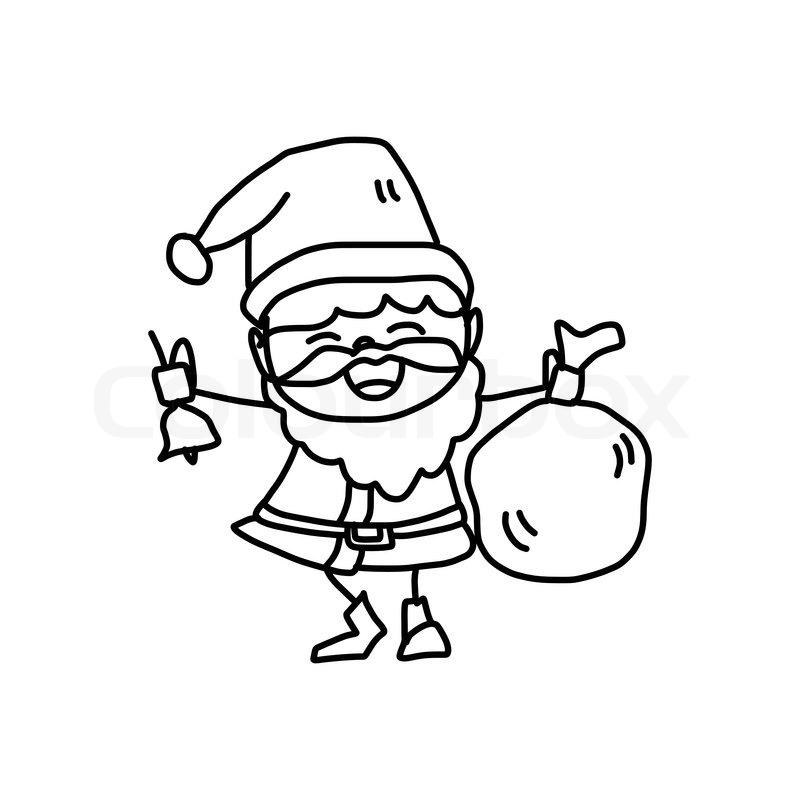 800x800 Hand Drawing Cartoon Character Christmas Santa Claus Stock