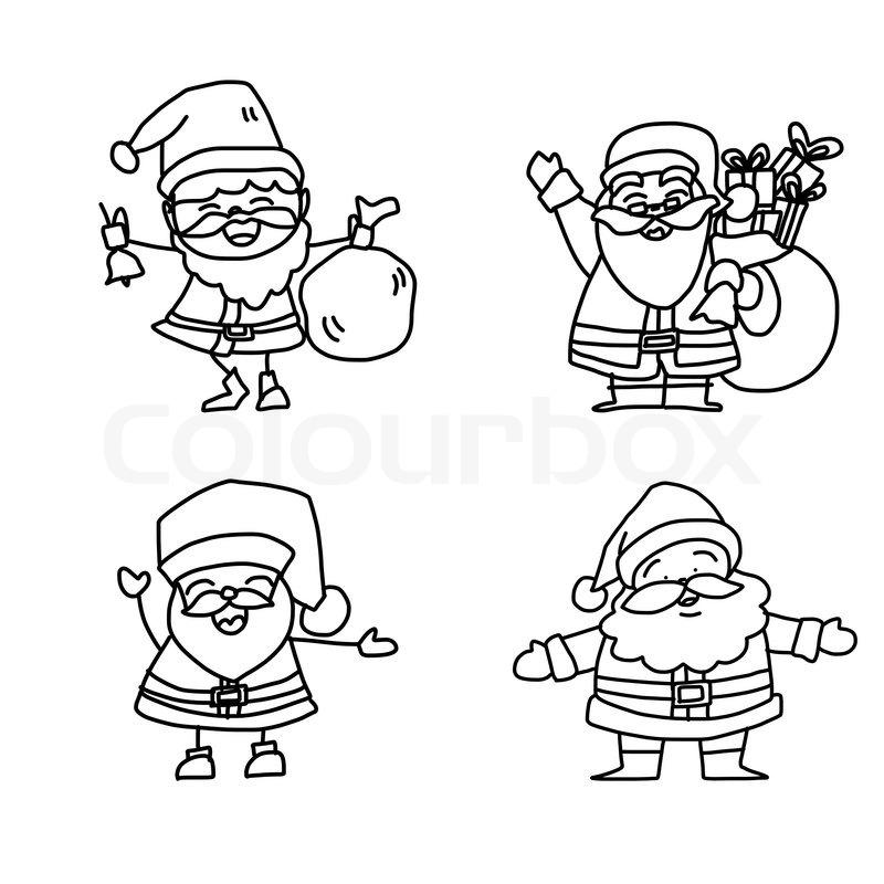 800x800 Hand Drawing Cartoon Christmas Santa Claus Stock Vector Colourbox
