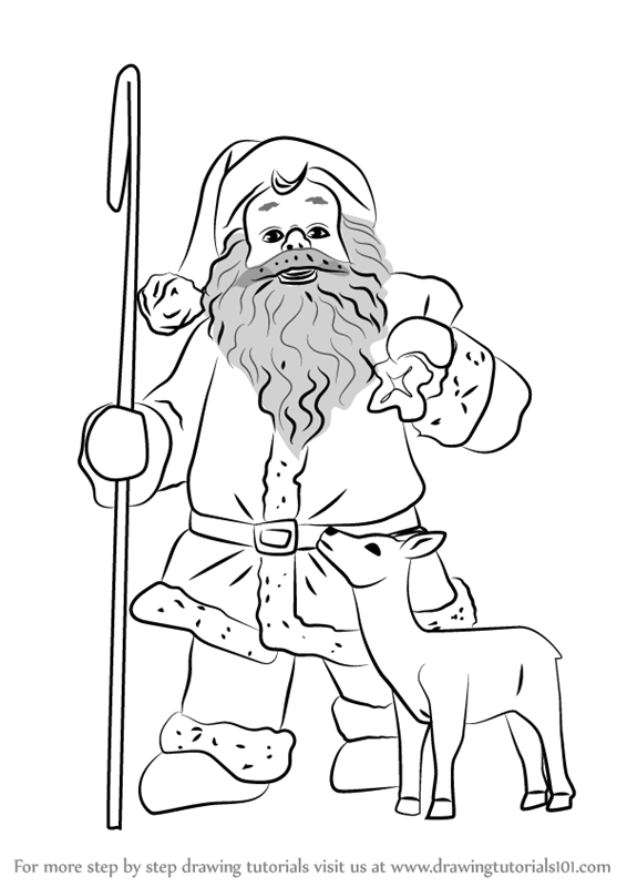 566x800 Learn How To Draw Santa Claus With Deer (Christmas) Step By Step