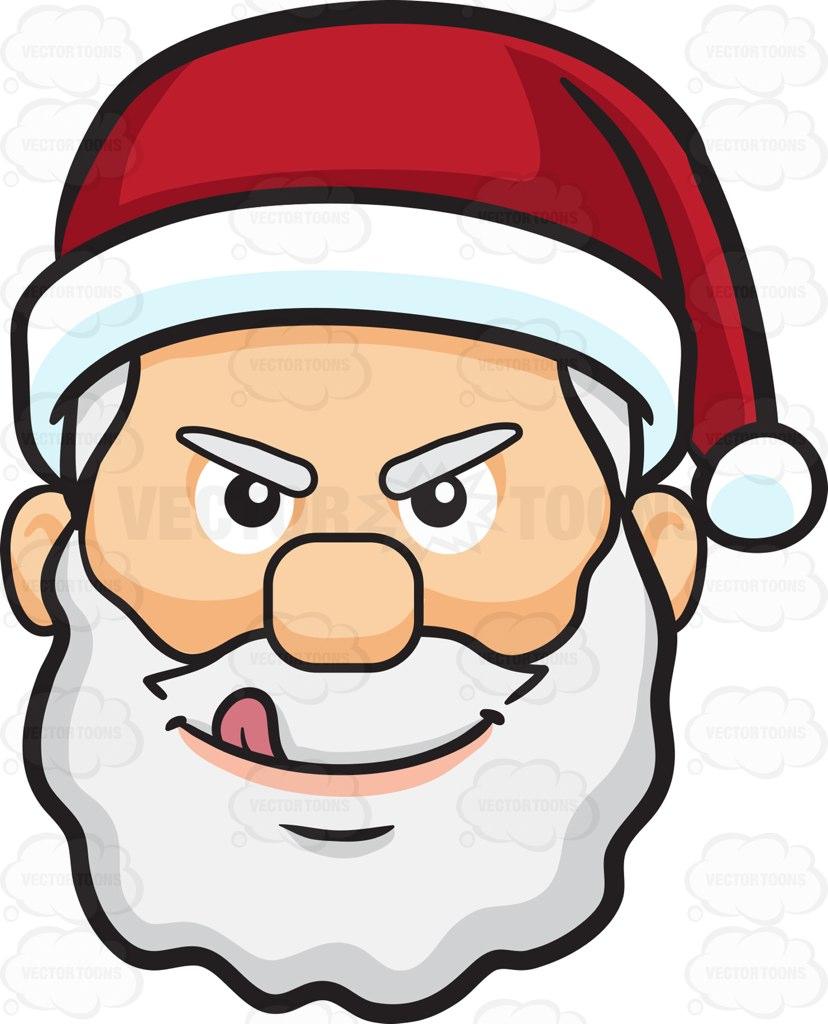 828x1024 A Naughty Face Of Santa Claus Cartoon Clipart