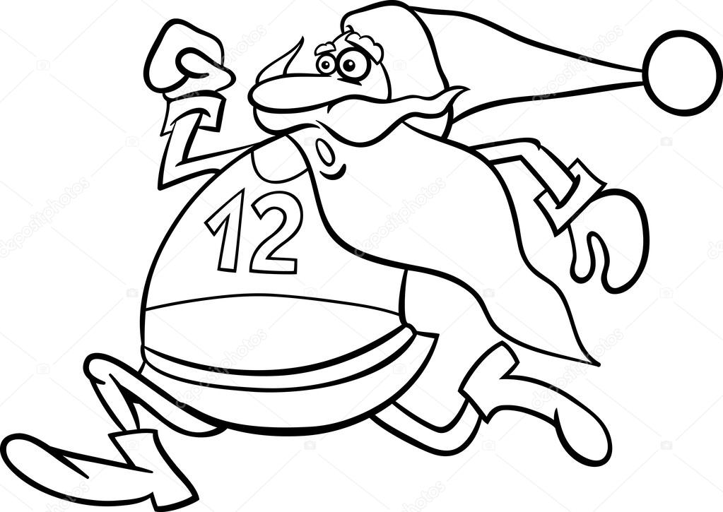1023x725 Running Santa Cartoon Coloring Page Stock Vector Izakowski