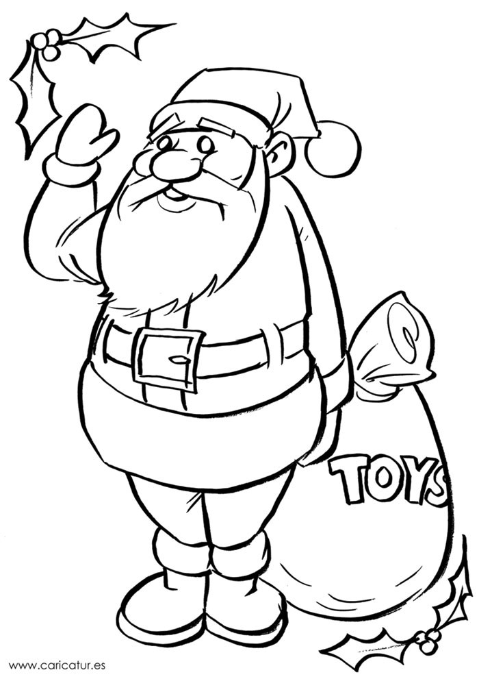 700x991 Black And White Santa Drawing For Colouring In!