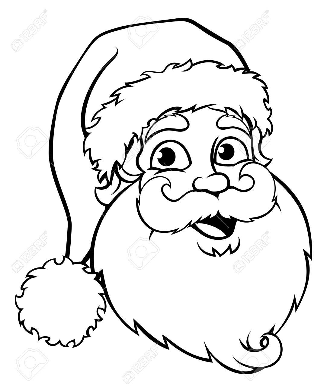 1083x1300 A Santa Claus Cartoon Character Christmas Black And White