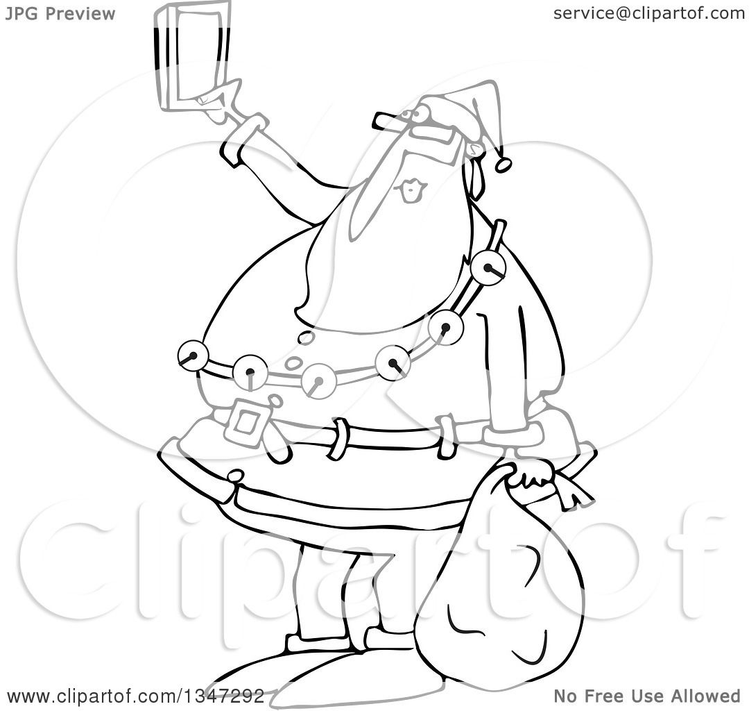 1080x1024 Outline Clipart Of A Cartoon Black And White Christmas Santa Claus