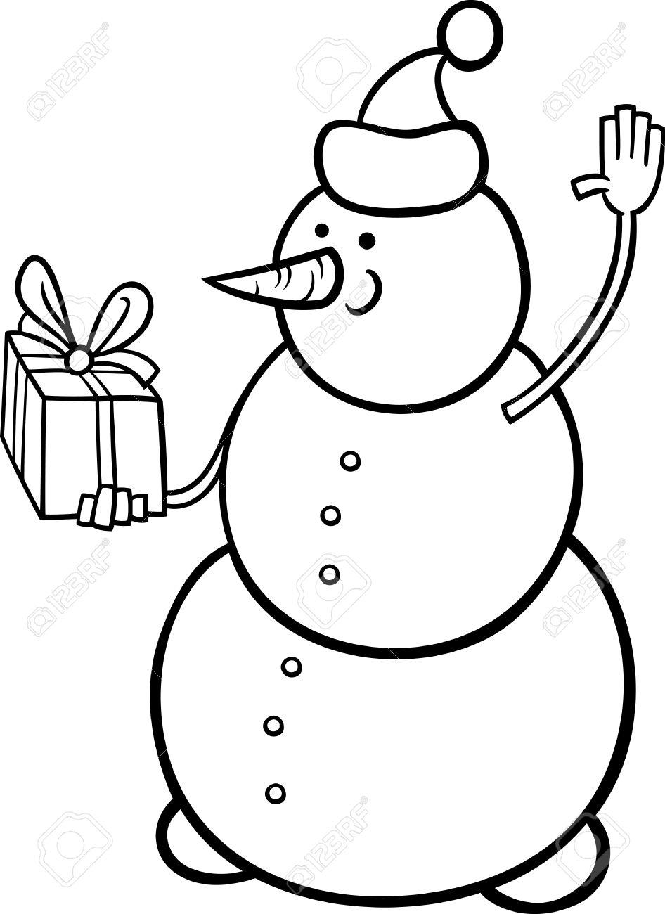 946x1300 Black And White Cartoon Illustration Of Snowman As Santa Claus