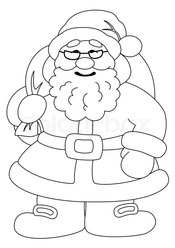 566x800 Santa Claus With Bag Of Gifts, Outline Stock Photo Colourbox