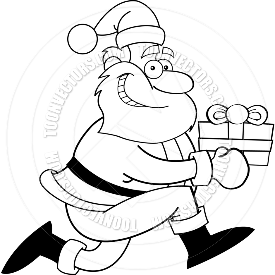 940x940 Cartoon Santa Claus With A Gift (Black And White Line Art) By