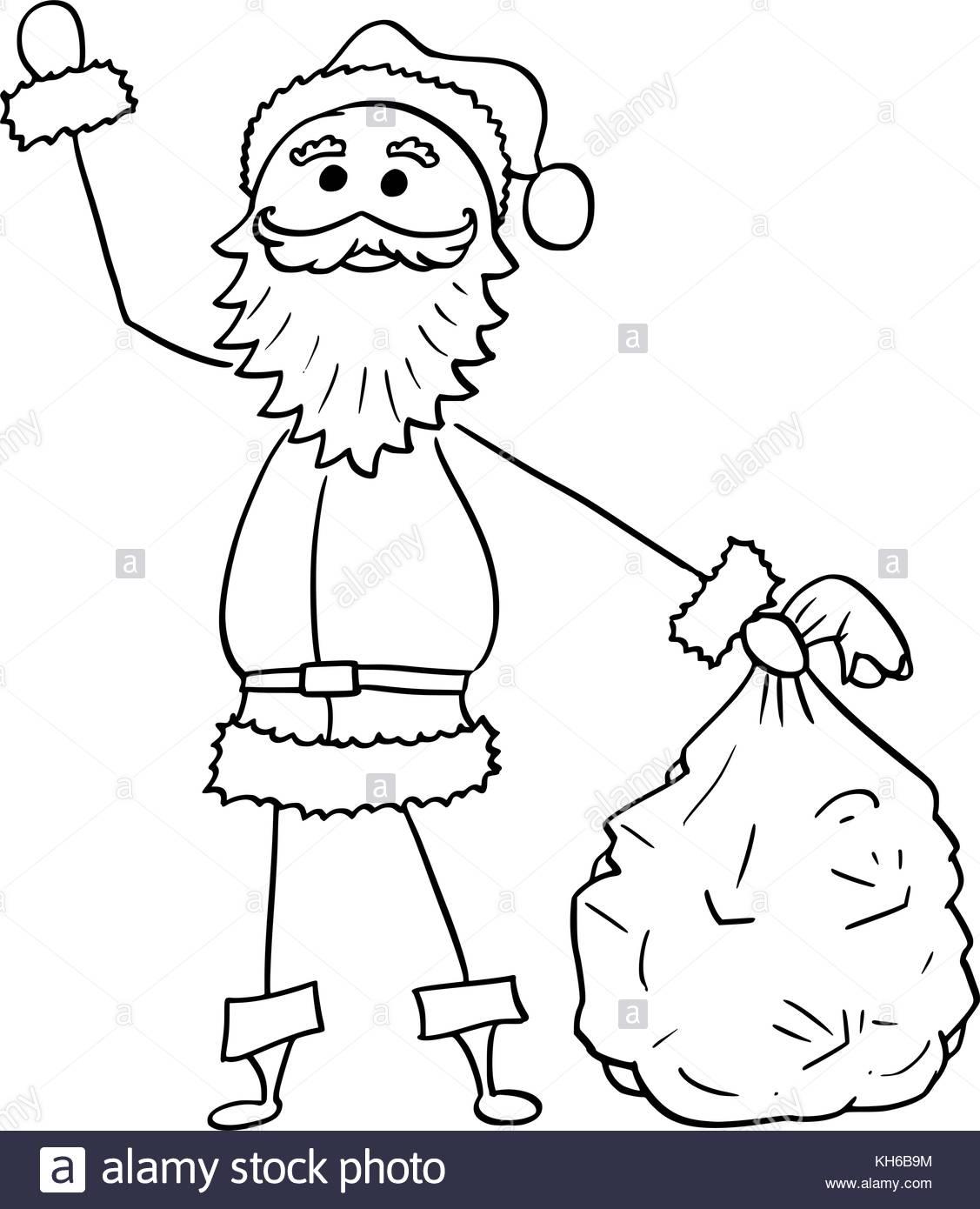 1127x1390 Cartoon Drawing Illustration Of Christmas Santa Claus Holding Bag