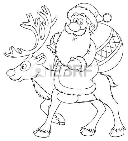 411x450 Santa Claus Riding On The Reindeer (black And White Drawing) Stock