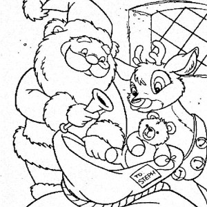 300x300 santa claus and rudolph picking christmas present for kids
