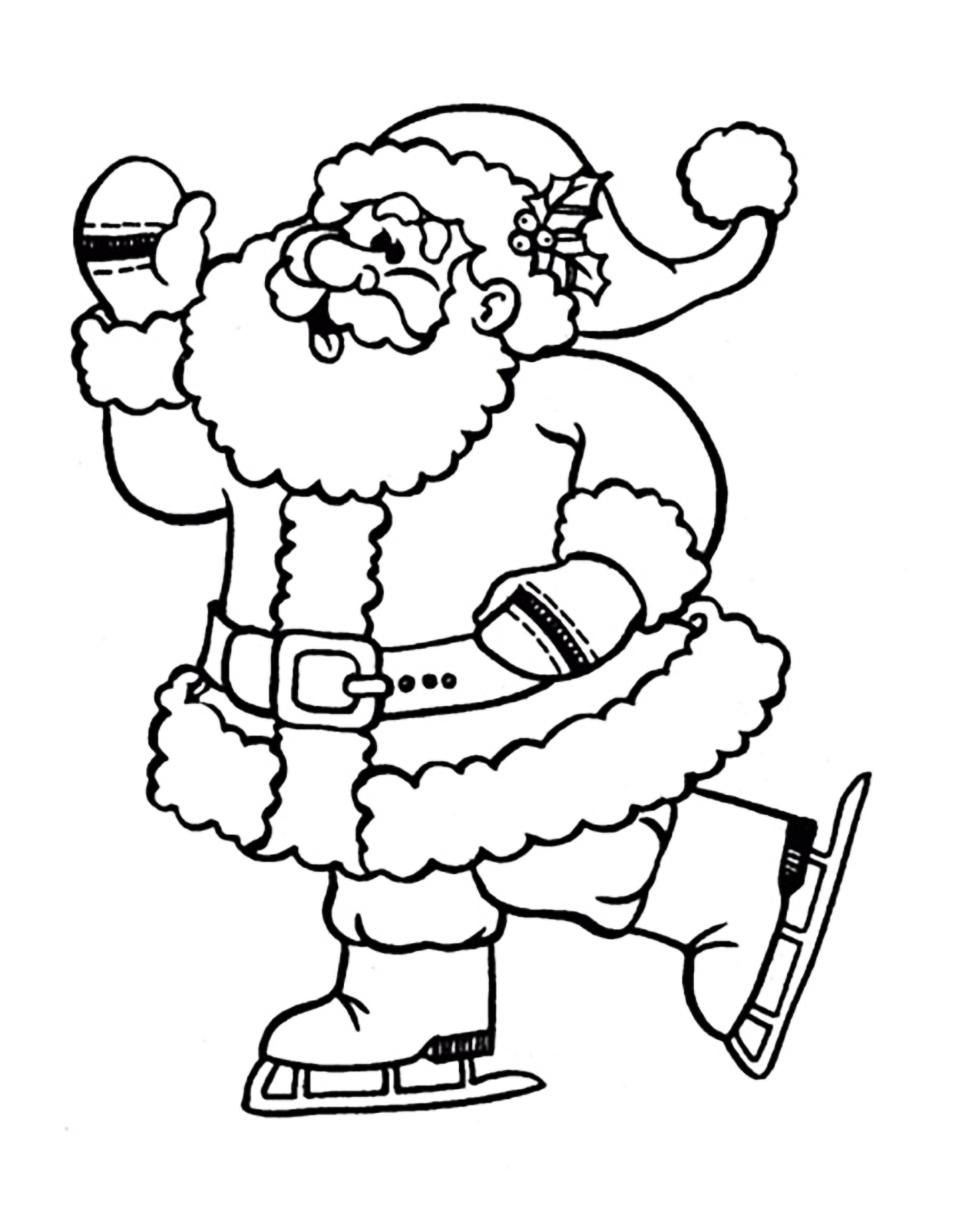 1800x2313 Santa Claus Ice Skating Christmas Coloring Pages For Kids