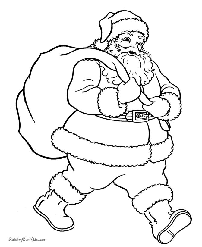 670x820 drawn santa christmas coloring page