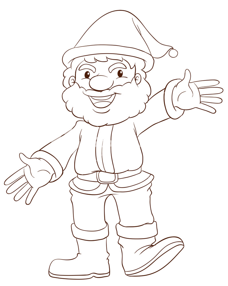 796x1000 A Plain Drawing Of Santa Claus On A White Background Royalty Free