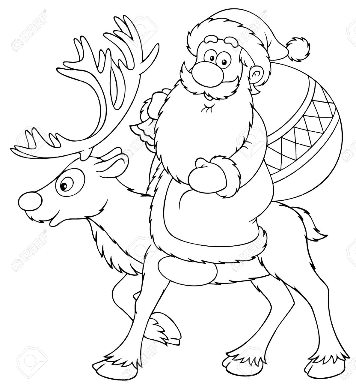 1188x1300 Santa Claus Riding On The Reindeer (Black And White Drawing) Stock
