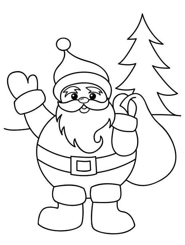 600x796 Santa Claus With Christmas Sack On His Back Coloring Page
