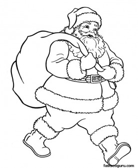 277x338 Santa Claus With Christmas Gifts Bage Coloring Pages
