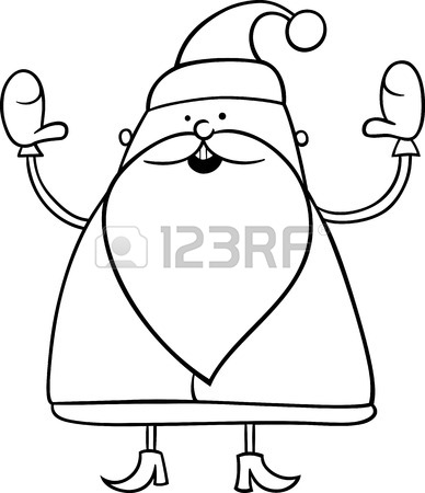 388x450 Black And White Cartoon Illustration Of Cute Santa Claus Christmas
