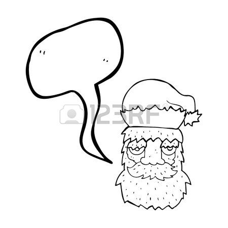 450x450 Freehand Drawn Cartoon Tired Santa Claus Face Royalty Free