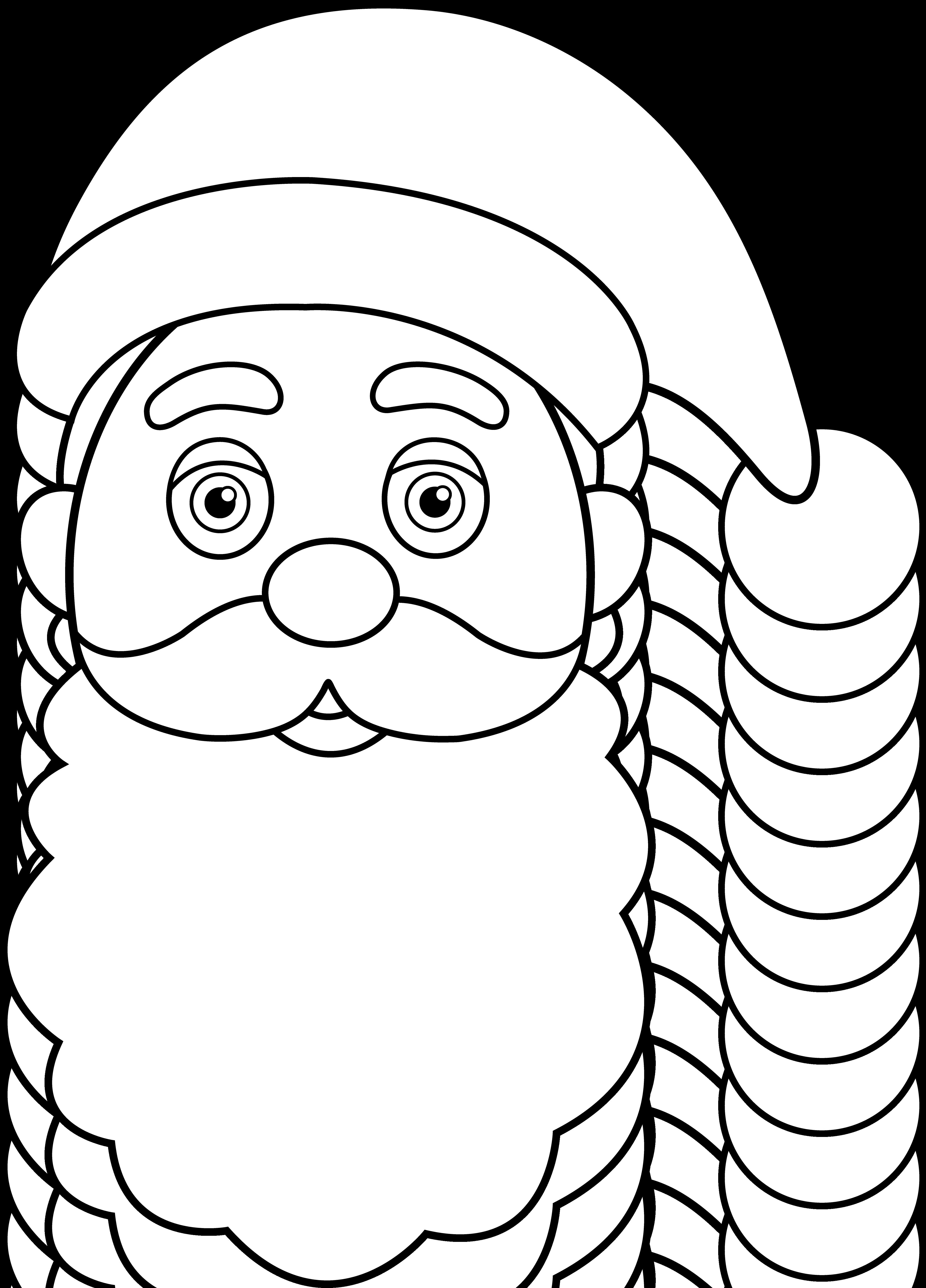 4095x5696 Line Art Of Santa Claus Face