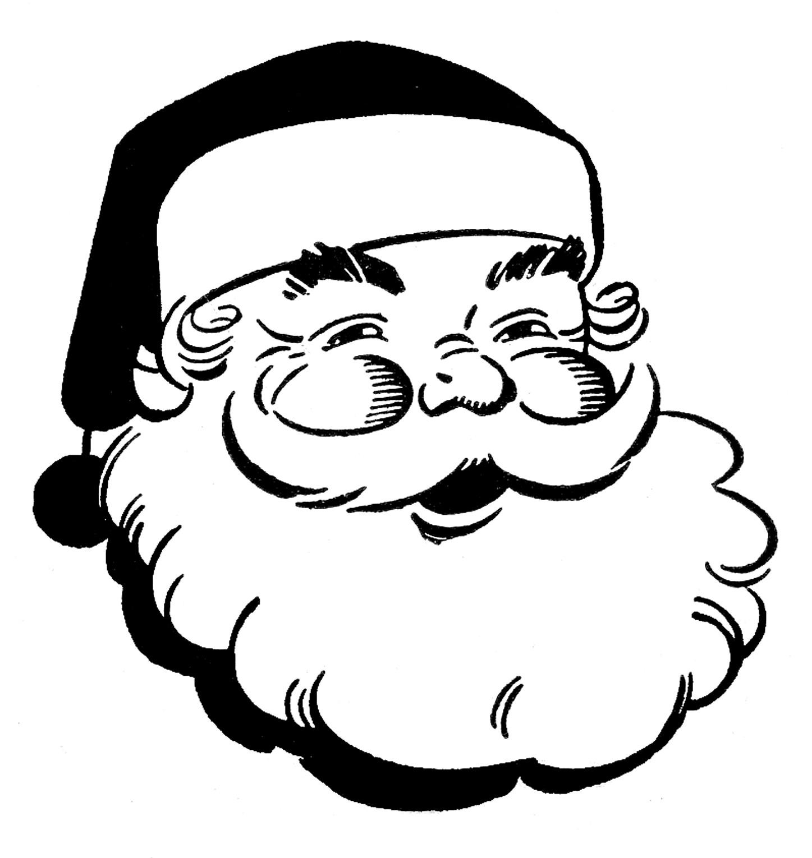 1447x1530 Santa Claus Face Clipart Black And White