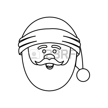 450x450 Silhouette Of Santa Claus Face With Christmas Hat Vector