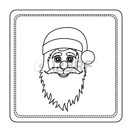 450x450 Sticker Colorful Square Frame With Christmas Santa Claus Face
