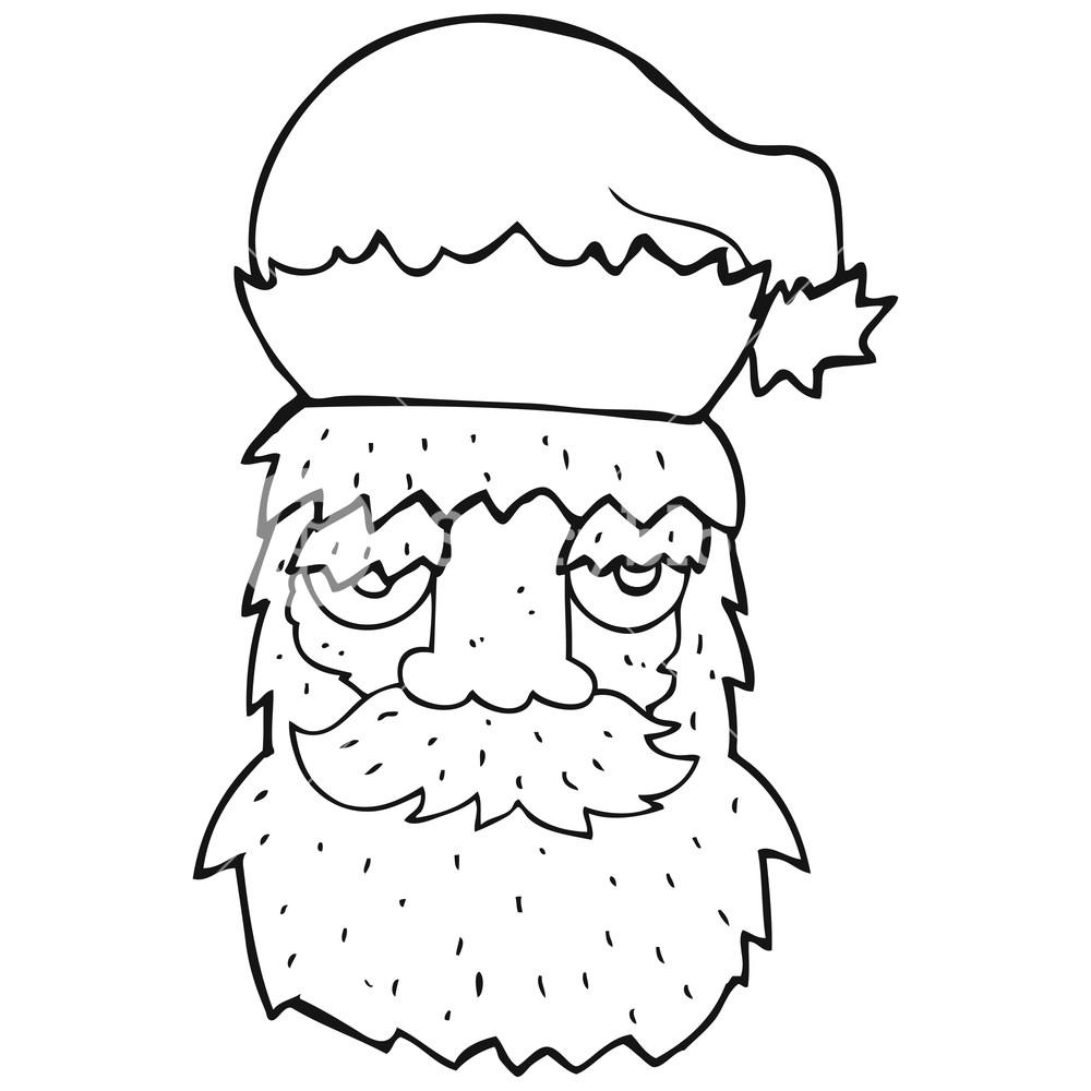 1000x1000 Freehand Drawn Black And White Cartoon Tired Santa Claus Face