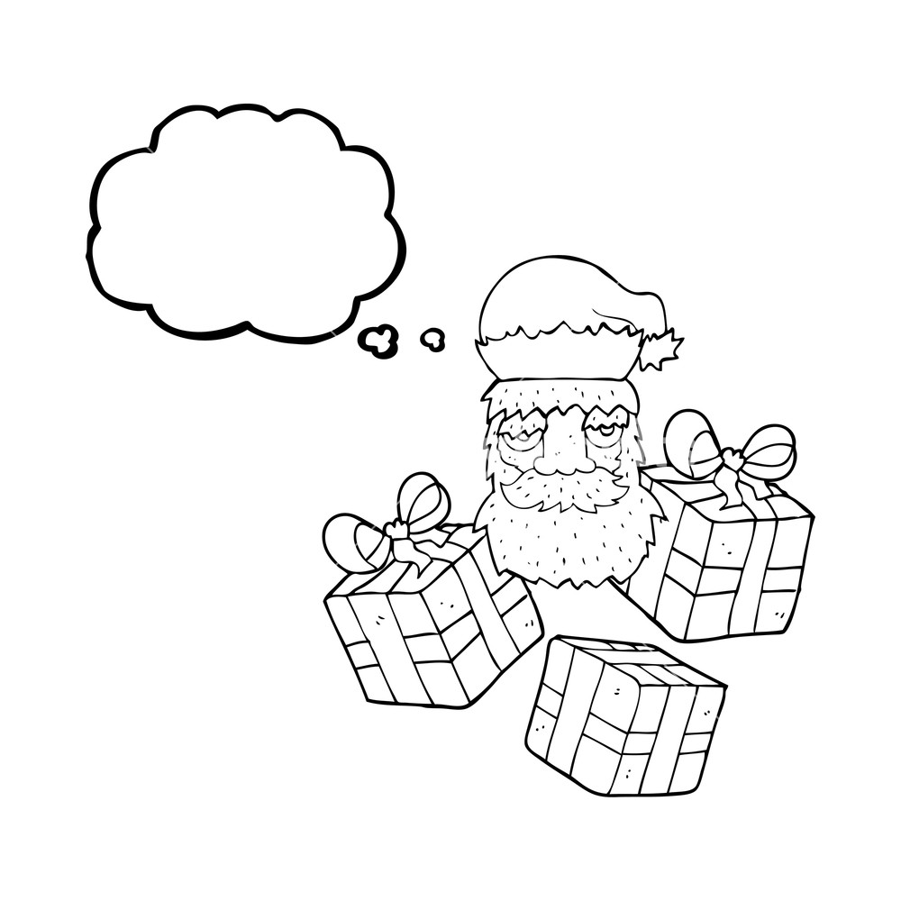 1000x1000 Freehand Drawn Thought Bubble Cartoon Tired Santa Claus Face