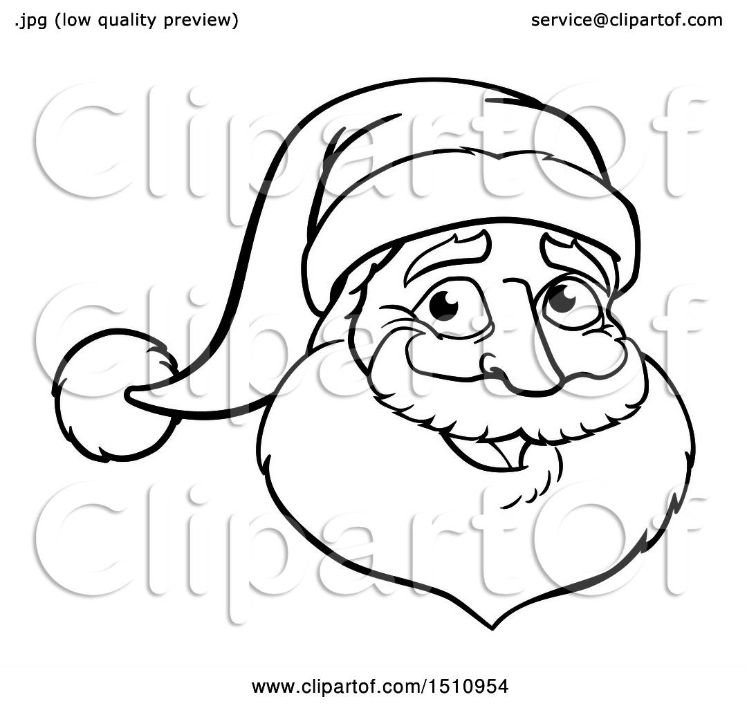 1080x1024 Clipart Of A Black And White Christmas Santa Claus Face