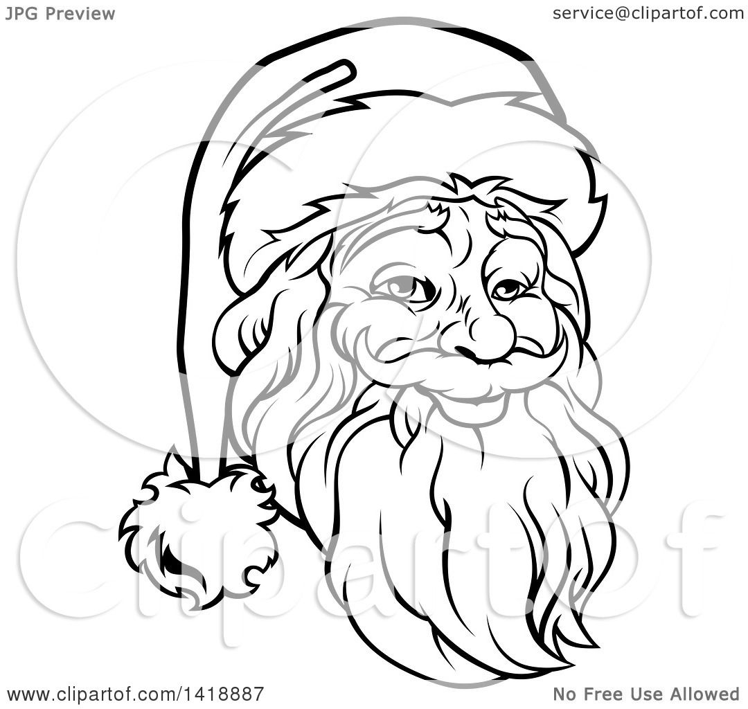 1080x1024 Clipart Of A Black And White Lineart Portrait Of A Santa Claus