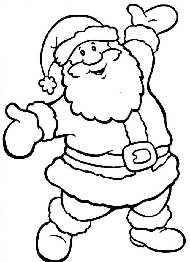 640x881 Drawn Santa Line Drawing