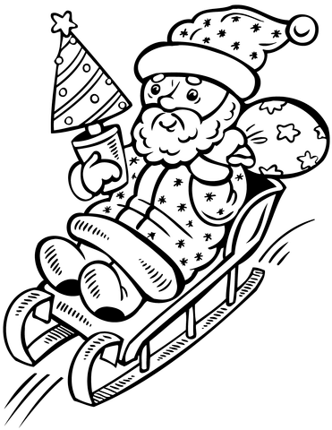 371x480 Santa Claus On Sleigh With Christmas Tree Coloring Page Free
