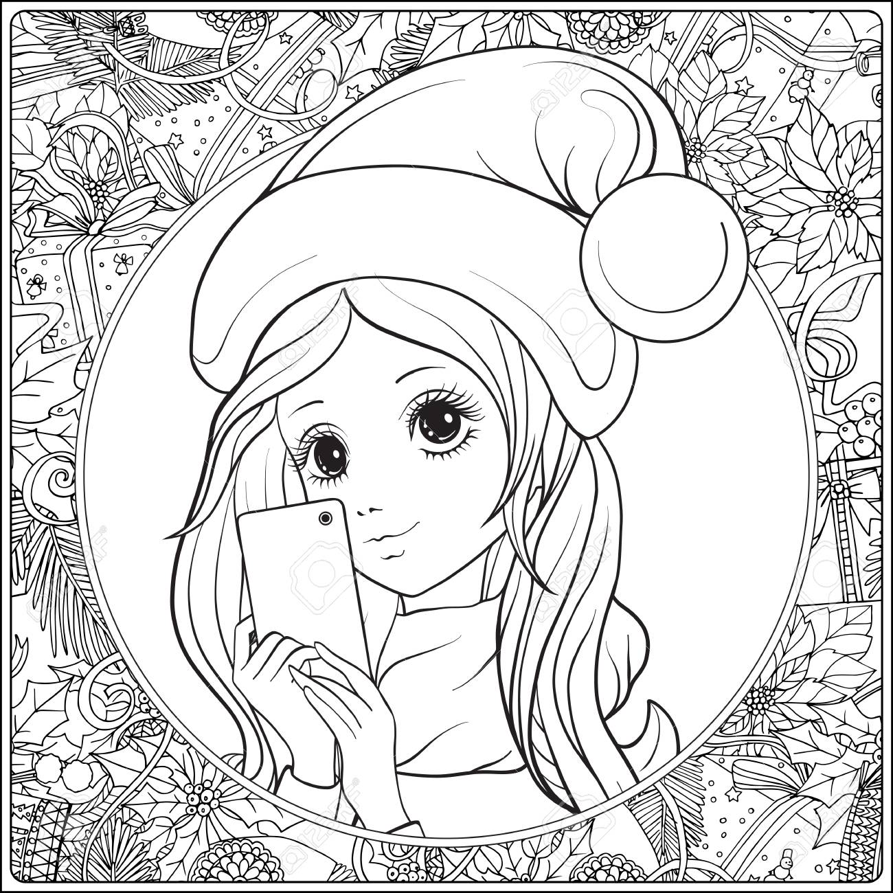 1300x1300 Young Nice Girl With Long Hear And Santa Claus Hat On Her Head